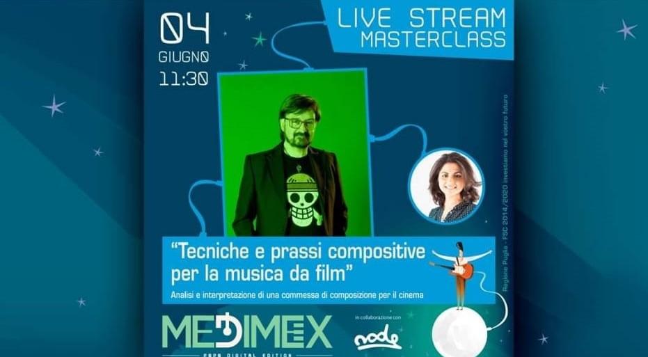 """Locandina Masterclass """"Tecniche e prassi compositive per la musica da film"""" tenuto da Claudio Simonetti"""